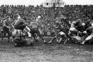 Thanksgiving Day, 1934 The Detroit Lions beat the Chicago Bears 14-2.