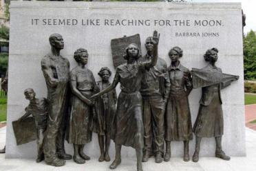 The Virginia Civil Right Monument in Richmond, Va., includes 16-year-old Barbara Johns leading the student strike.